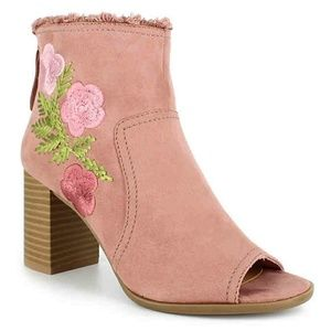 MojoMoxy Embroidery Bootie - Light Pink